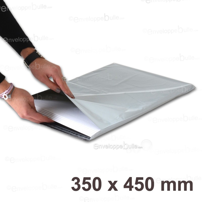 Enveloppes plastiques blanches opaques 350x450 mm