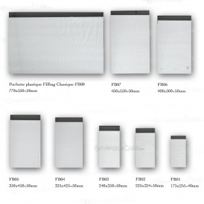 Enveloppes plastiques blanches opaques 325x425 mm