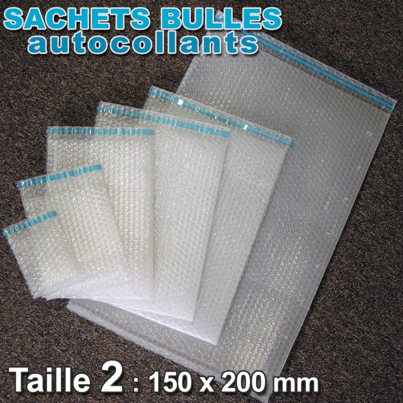 Sachets bulles d'air 150x200 mm avec rabat  adhésif