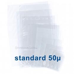 Sachets plastiques SANS fermeture 50x80mm épaisseur standard 50µ