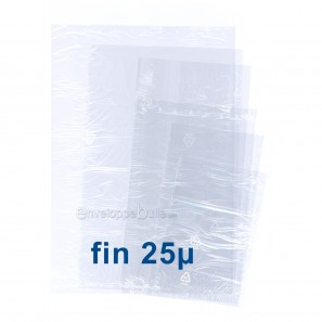 Sachets plastiques SANS fermeture 250x400mm épaisseur fine 25µ