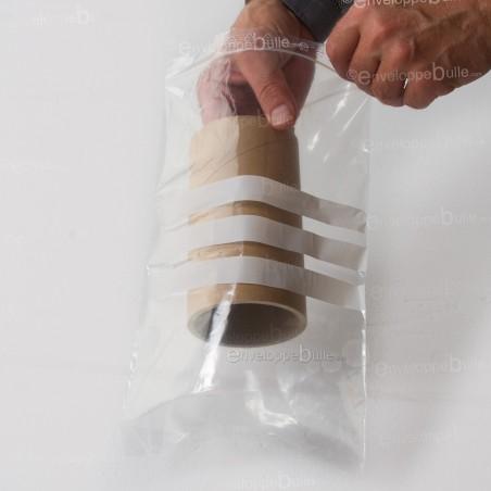 Sachets plastiques à fermeture ZIP 200x300mm  + 3 bandes blanches