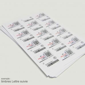 Planches A4 de 24 étiquettes autocollantes 6,35 x 3,39 cm spéciales TIMBRE