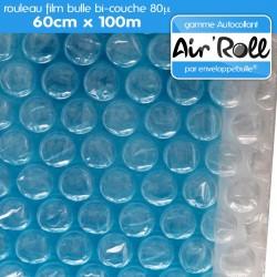 Rouleau de film bulle d'air AUTOCOLLANT 60cm x 100m