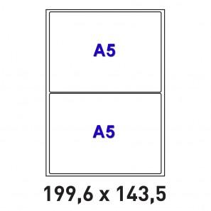 Planches A4 de 2 étiquettes autocollantes A5 format 199,6 x 143,5 mm