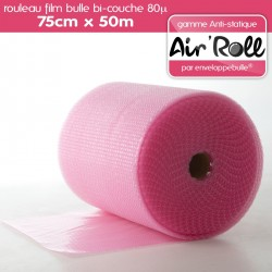 Rouleau de film bulle d'air ANTISTATIQUE 75cm x 50m