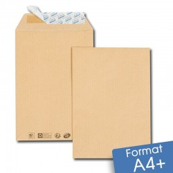 Enveloppes kraft brun A4+ auto-adhésives 260x330 mm