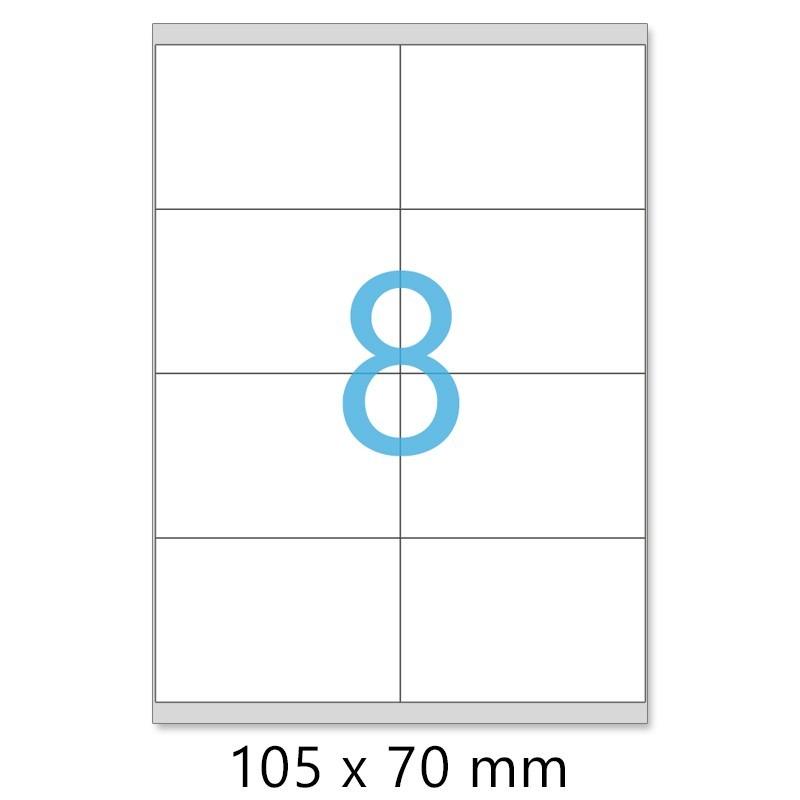 Planches A4 de 8 étiquettes autocollantes A7 format 105 x 70 mm