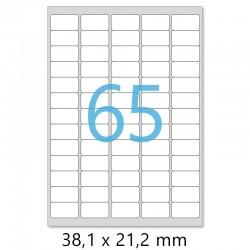 Planches A4 de 65 étiquettes autocollantes MINI format 38,1 x 21,2 mm