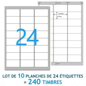 10 Planches A4 de 24 étiquettes autocollantes 6,35 x 3,39 cm - spéciales TIMBRE
