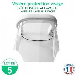 Lot de 5 Visières protection visage - réutilisables et lavables - antibuée – anti Allergique