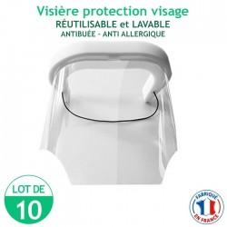 Lot de 10 Visières protection visage - réutilisables et lavables - antibuée – anti Allergique