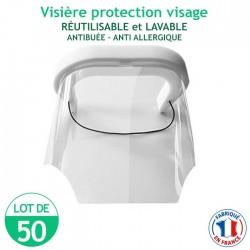 Lot de 50 Visières protection visage - réutilisables et lavables - antibuée – anti Allergique