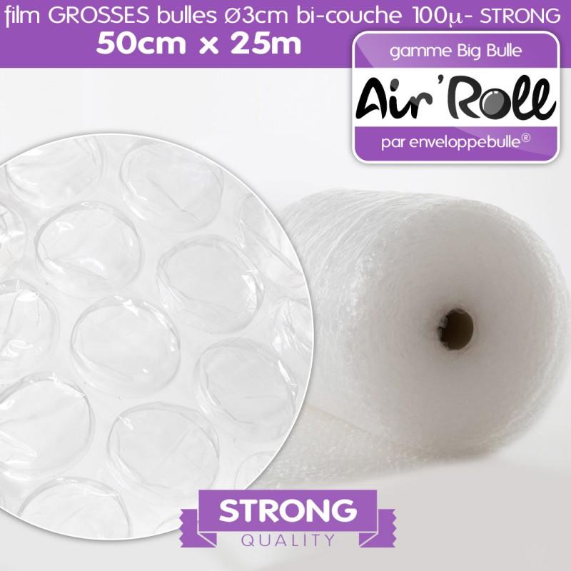 Rouleau de film GROSSES BULLES d'air 50cm x 25m STRONG
