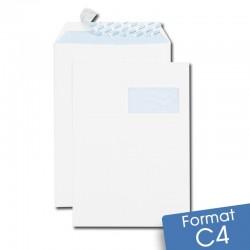 Enveloppes blanches C4 auto-adhésives à FENÊTRE