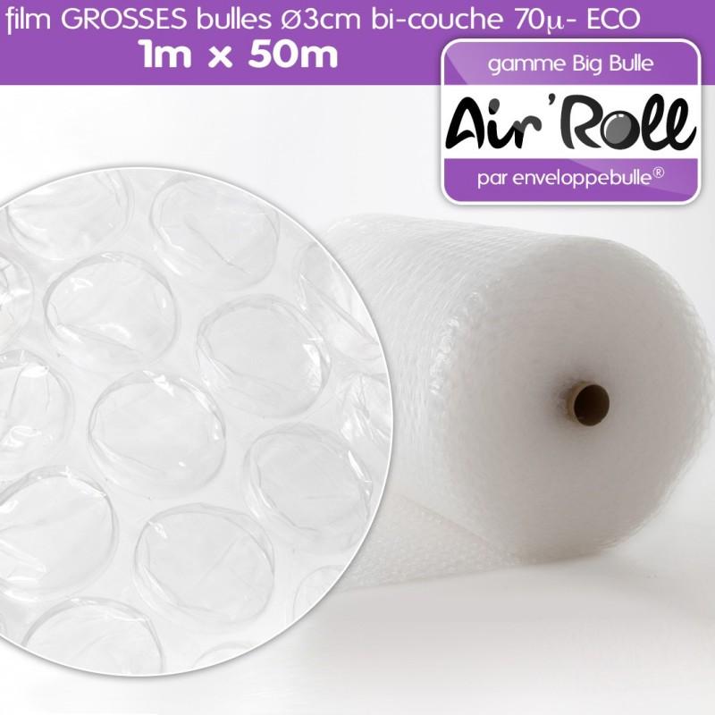 Rouleau de film GROSSES BULLES d'air 1m x 50m ECO