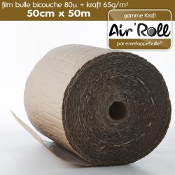 Rouleau de film bulle d'air + KRAFT 50cm x 50m